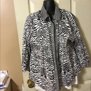 Leopard black and white button down